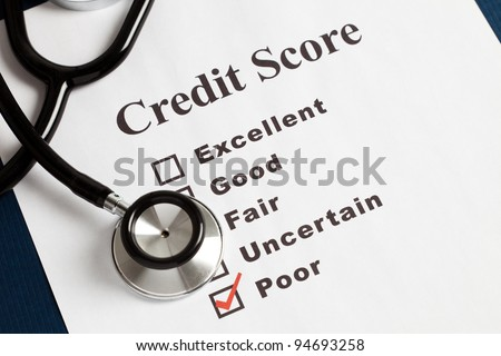 Stethoscope and Credit Report, concept of Credit Problems - stock photo