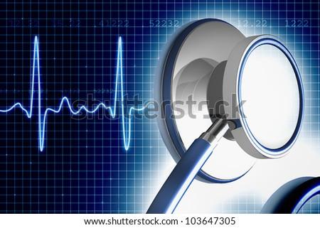 Stethoscope and ECG - stock photo