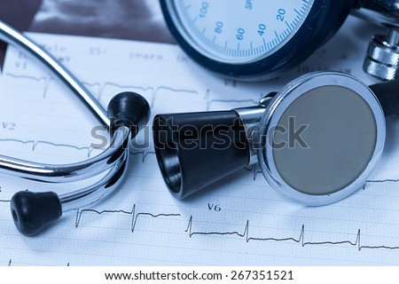 Stethoscope And Electrocardiogram  - stock photo