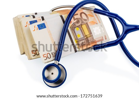 stethoscope and euro banknotes, symbolic photo for monetary union, stability and risks for the euro - stock photo