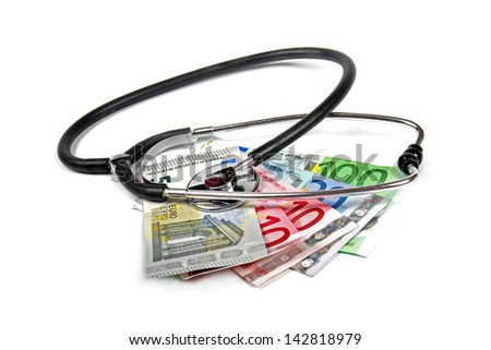 stethoscope and euro money banknotes - stock photo