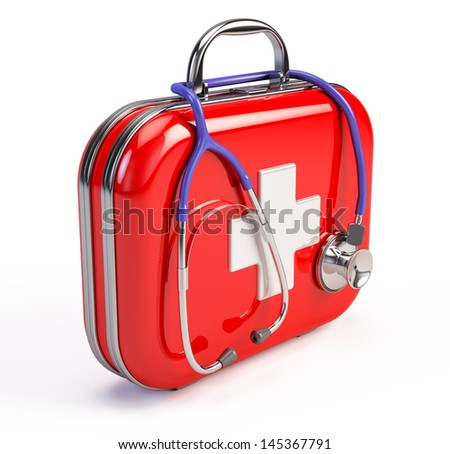 Stethoscope and First Aid Kit - stock photo