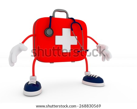 Stethoscope and First Aid Kit Character isolated - 3D Render - stock photo