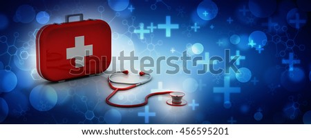 Stethoscope and First Aid Kit isolated - 3D Render