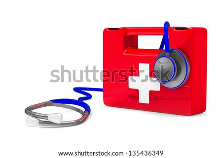 Stethoscope and first aid on white background. Isolated 3D image - stock photo