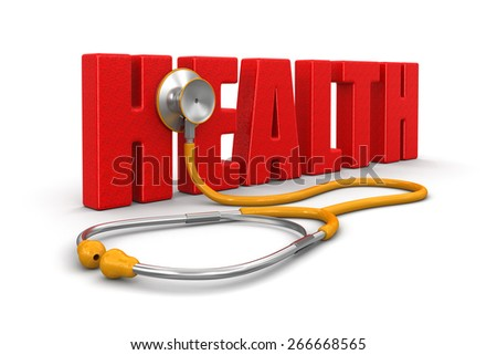 stethoscope and health (clipping path included) - stock photo