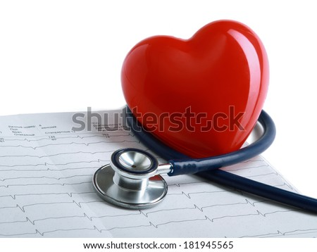 Stethoscope and heart - stock photo