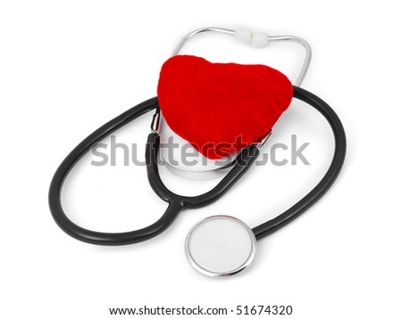 Stethoscope and heart isolated on white background