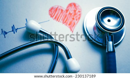 stethoscope and heart painted (medical concept) - stock photo