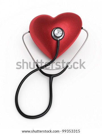 Stethoscope and heart render (isolated on white and clipping path)