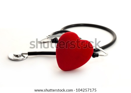 stethoscope and heart sign of healty life - stock photo