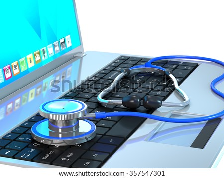 Stethoscope and laptop are on white background. - stock photo