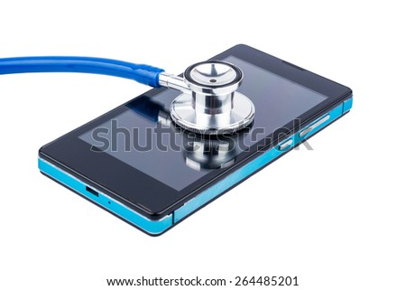 Stethoscope and phone service for repair of mobile - stock photo