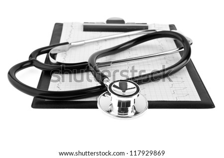 stethoscope and plane-table on a white background - stock photo