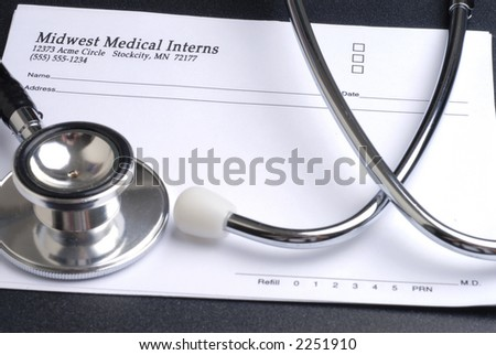 Stethoscope and Prescription Pad - stock photo