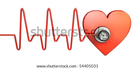 Stethoscope and red heart (3d illustration) - stock photo