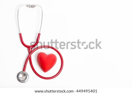 Stethoscope and red heart isolated on white background - stock photo