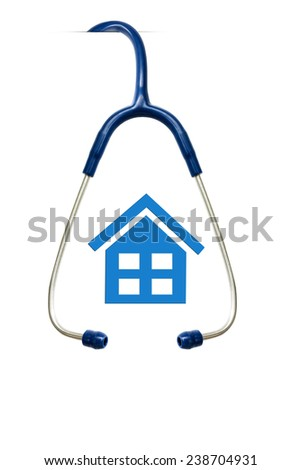 stethoscope and simple house health concept isolated white background  - stock photo