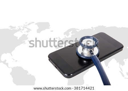 stethoscope and smart phone on world map background