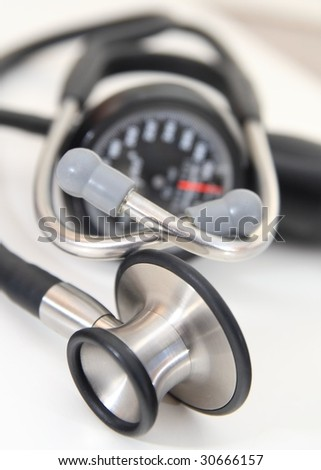 stethoscope and sphygmomanometer - stock photo