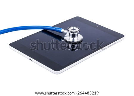Stethoscope and tablet repair service for laptops - stock photo