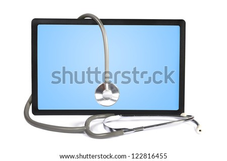 stethoscope and  touchpad on white background