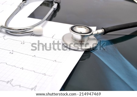 Stethoscope and X-ray - stock photo
