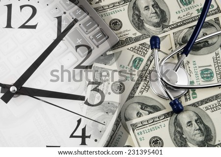 Stethoscope, calculator, clock and banknotes, cost of healthcare concept  - stock photo