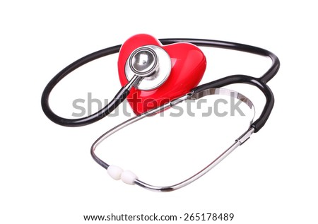 stethoscope check red heart. hear tool  isolated on white background