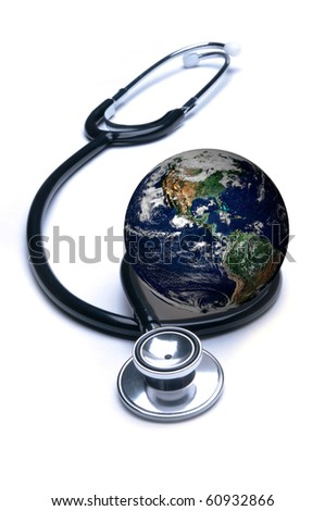 Stethoscope curled around planet earth in concept for global healthcare. Isolated on white. Globe public domain courtesy http://visibleearth.nasa.gov - stock photo