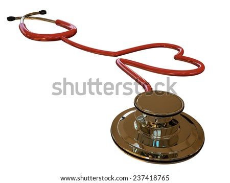 stethoscope heart shaped isolated on white background - stock photo