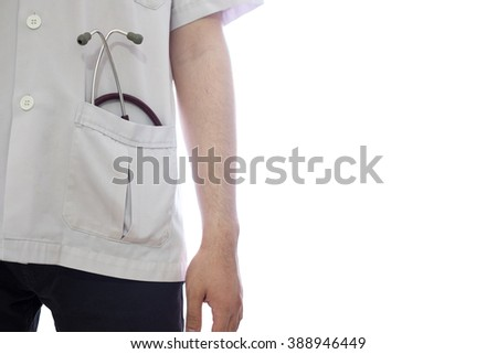 Stethoscope in doctor's pocket, isolated photo on white background with space for text