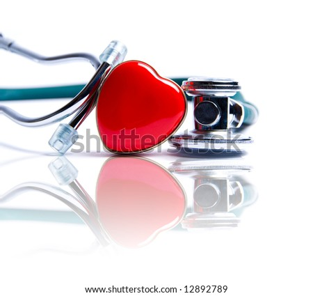 Stethoscope in green on an isolated white background - stock photo