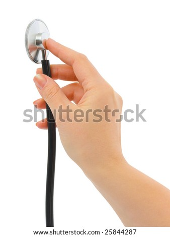 Stethoscope in hand isolated on white background - stock photo