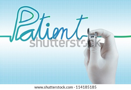 Stethoscope in hand with patient word as medical concept - stock photo