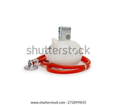 stethoscope in white background - stock photo