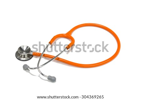 stethoscope Isolated on white background with path - stock photo
