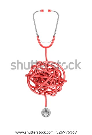 Stethoscope knot / 3D render of stethoscope with tubing in twisted knot - stock photo