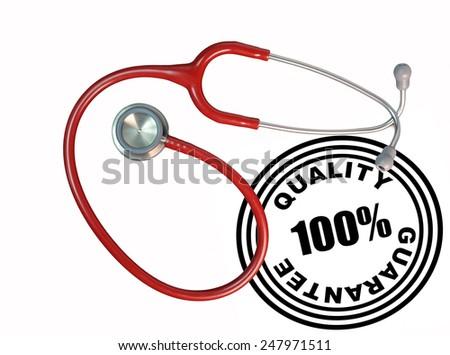 stethoscope - medical earphones - 100% quality guarantee stamp - stock photo