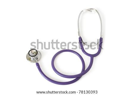 Stethoscope on a white background - stock photo
