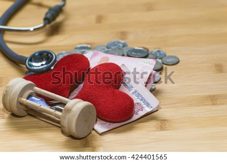 stethoscope on currency Money for financial examination healthy concept