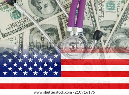 Stethoscope on dollars background, usa healthcare concept - stock photo