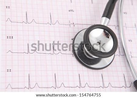 Stethoscope on ecg graph  - stock photo