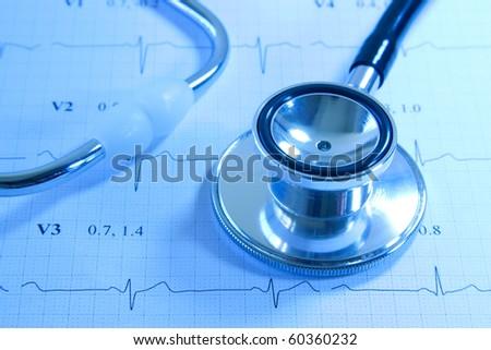 Stethoscope on EKG printout - stock photo