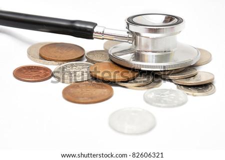 Stethoscope on money - stock photo