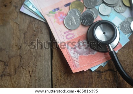 Stethoscope on money with vintage wooden  background - medical concept. selective focus
