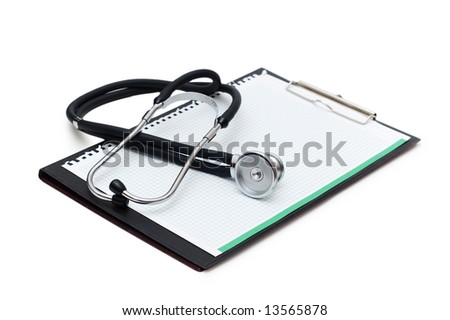 Stethoscope on the binder isolated on white