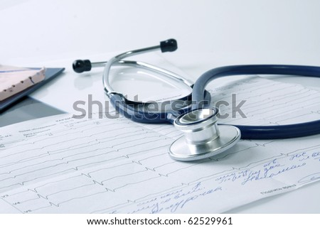 Stethoscope on the cardiogram