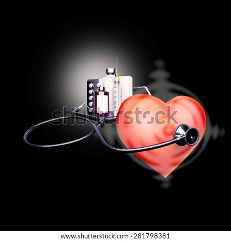 Stethoscope on the heart. Heart - a target for diseases. - stock photo