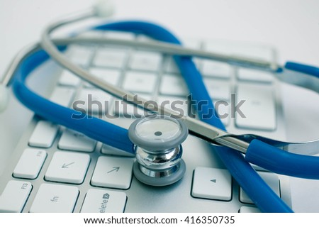 Stethoscope on the keyboard. computer security